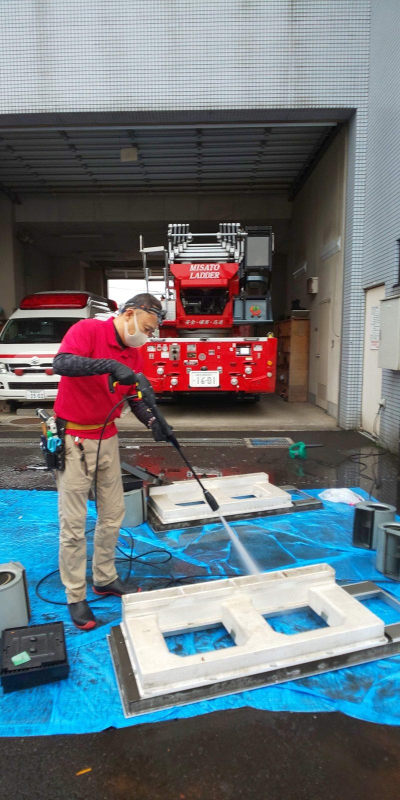 消防署のエアコン清掃